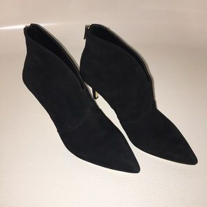 Lord and Taylor black suede heeled bootie.